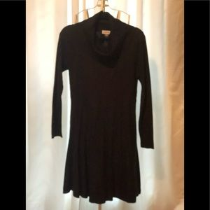 Black cow neck sweater dress